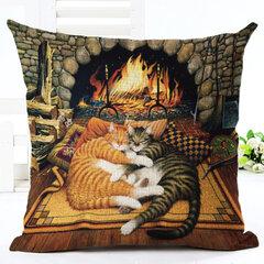 Retro Style Cats Linen Cotton Cushion Cover Home Sofa Art Decor Throw Pillowcase
