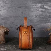 Sac à main vintage en cuir véritable pour femmes Double couche Brush Crossbody