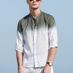 Mens Gradient Color Summer Three Quarter Sleeve Cotton Breathable Casual Shirt