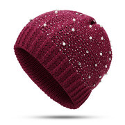 Women Warm Wool Beanie Hat Casual Outdoor Cycling Windproof Nail Drill Pearl Knit Cap