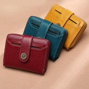 Genuine Leather Retro Bifold Small Short Wallet Card Holder Purse For Women