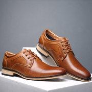 Large Size Men Vintage Genuiner Cow Leather Lace Up Businees Formal Shoes