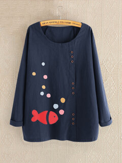 Print Cartoon Fish Long Sleeve Button Autumn Shirt