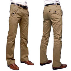 Mens Excellent Quality Cotton Solid Color Fashion Casual Slim Fit Straight Pants