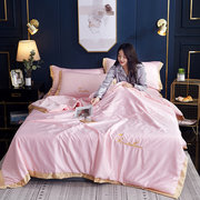 3/4Pcs Washed Ick Silky Satin Quilt Bedding Set Summer Quilted Bedding Soft Smooth Queen King Sheet