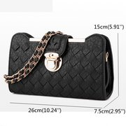 Women PU Leather Weave Crossbody Bag Fashion Phone Bag Shoulder Bag