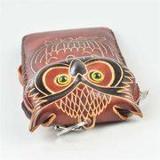 Genuine Leather Cartoon Owl 5.5inch Phone Bag Clutch Coins Bags Purse
