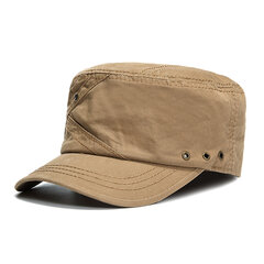 Mens Cotton Breathable With Ventilation Holes Flat Top Caps Outdoor Sunshade Military Army Hat