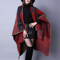 Women Winter Plaid Artificial Cashmere Scarves Shawl Casual Ethnic Warm Split Ends Thicken Cloak