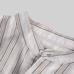 Mens 100% Cotton Striped Stand Collar Long Sleeve Loose Casual Shirt