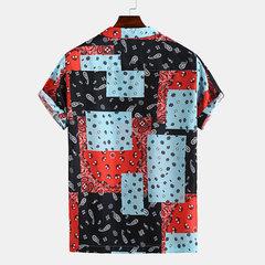 T-shirt décontracté à manches courtes pour hommes avec impression style ethnique floral d'été