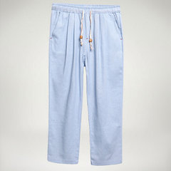 Breathable Cotton Linen Drawstring Solid Color Spring Summer Casual Straight Pants for Men