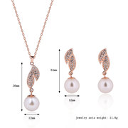 Elegante Schmuck Set Leaves Perle Strass Halskette Ohrringe Set
