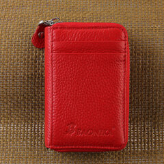 Genuine Leather Multi - card Holder Organ - style Card Bag Zipper Credit Card Wallet