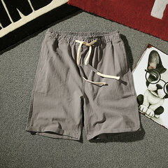 Mens Sommer Breathable Brief Pure Color Elastic Drawstring Beiläufige Dünne Shorts