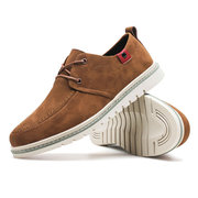 Men Microfiber Leather Wear-resistant Lace Up Casual Shoes