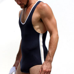 Sexy Sleepwear Modal One Piece Siamese Vest Home Body Sculpting Swimsuits for Men