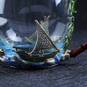 Vidrio de cristal del regalo del negocio de la taza lisa de la navegación con la taza de té exquisita del esmalte de la manija