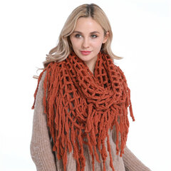 Women Warm Knitted Collar Ring Scarf With Tassel Outdoor Fashion Scarves Collar Circle Crochet Scarf