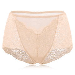 Sexy Breathable See Through Lace Embroidered High Waist Panties For Women