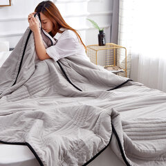 Washed Cotton Quilted Duvet Cover Summer Cooling Wacthing TV Blanket Bedding Set for Queen King Size