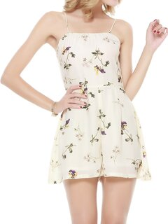 Sexy Floral Print Backless Camisole Jumpsuit For Women