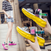 New European Station Women's Shoes Color Rhinestone Sandals Fashion Thick-soled Cakes Comfortable Casual Shoes Tide