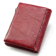Genuine Leather Bifold Wallet Female Small Wallet Money Bag Coin Purse Card Holder