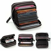 Women Short Double Zipper Genuine Leather Wallet Cards Cash Coins Holder Casual Purse
