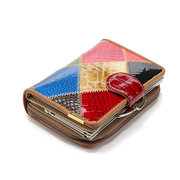 Qianxilu 10 Card Holders Patchwork Genuine Leather Casual Wallet For Women