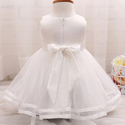 Flower & Beading Baby Girl Wedding Pageant Party Dress For 0-18M