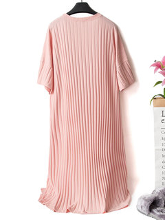 Plus Size Home Sleepwear Embroidery Cotton Breathable Striped Casual Pajamas