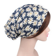 Women Pastoral Turban Hat Cotton Cool Floral Vintage Turban Gardening Beanie Cap