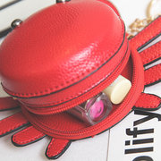 Women PU Leather Cute Crab Shape Coin Bag Casual Key Bag