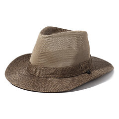 Mens Linen Sunshade Breathable UV Protection Wide Brim Stripe Pattern Bucket Hats