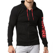 Mens Cotton Lässige Hoodie Laufen Sport Training Zip Up Sweatshirt