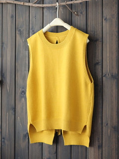 Casual Back Hollow Sleeveless Women Vest Sweaters