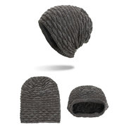 Mens Horizontal Stripes Wool Velvet Knitted Hat Warm Winter Outdoor Ski Travel Beanie