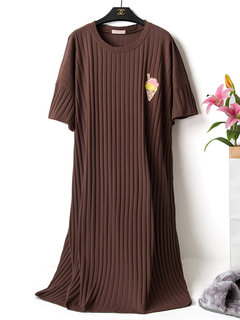 Plus Size Casual Sleepwear Striped Breathable Loose Home Pajamas