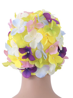 Cosy Handmade Colorful Flower Three-dimensional Elastic Hair Care Swimming Cap