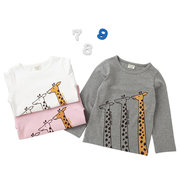 Lovely Giraffe Print Toddler Girls Kids Long Sleeve T-Shirt Tops For 2Y-11Y