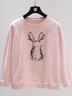 Camiseta de manga larga con cuello redondo y estampado animal lindo para mujer