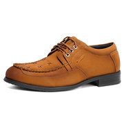 Men Large Size Microfiber Leather Lace Up Casual Shoes