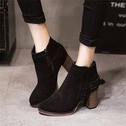 Chunky Heel Buckle Zipper Ankle Casual British Style Boots For Women