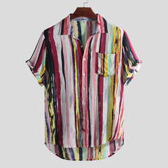 Mens Multi Color Graffiti Chest Pocket Short Sleeve Round Hem Loose Shirts