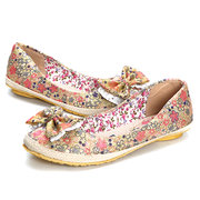 Big Size Lace Floral Butterfly Knot Printing Slip On Shoes