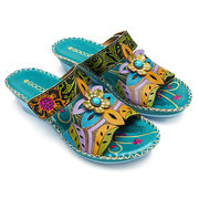 SOCOFY Bohemian Leather Adjustable Hook Loop Printing Forest Sandals