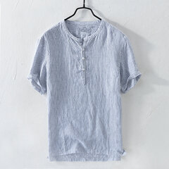 Mens Stripe Cotton Linen Casual Short Sleeve T-shirts Breathable Slim Tops