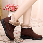 Suede Zipper Warm Lined Soft Casual Ankle Boots