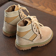 Stitching Lace Up Boys Girls Soft Sole Short Boots For Toddler And Kids